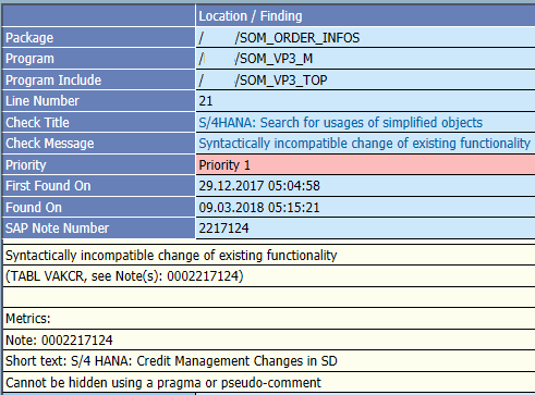 ATC error for VAKCR table Syntactically incompatible change of existing functionality