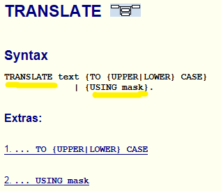 documentation for ABAP Translate command