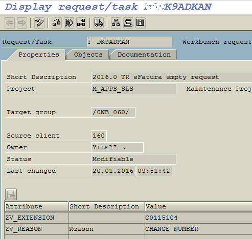 ABAP transport request properties and attributes