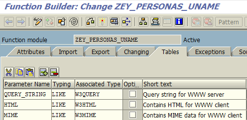 ABAP WebRfc Tables parameters tab