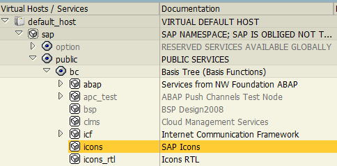 SAP icons service on SICF transaction
