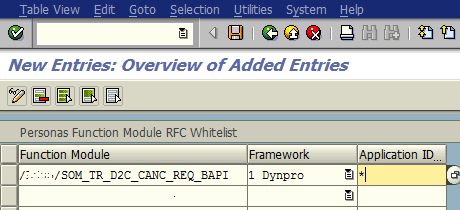 SAP Personas Function Module Whitelist New RFC Entry