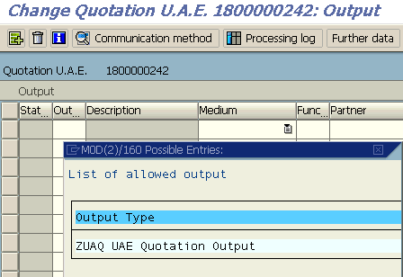add new SAP Output Type to Quotation Order using VA22 transaction