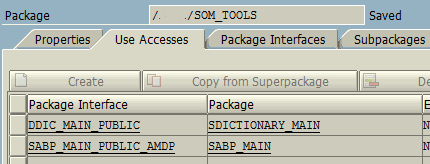 add package interface in use accesses for ABAP package