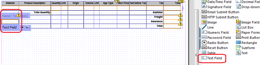 add text field on Adobe Form table cell