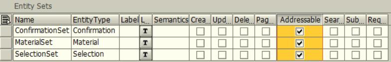 ABAP SEGW OData transaction Addressable Entity Sets