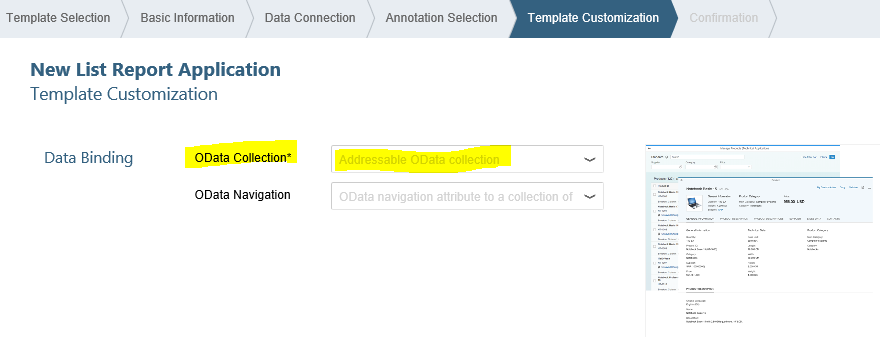 addressable OData collection for SAP Web IDE app template