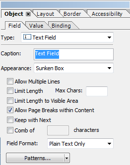Remove Caption for Text Field on Adobe Form Layout
