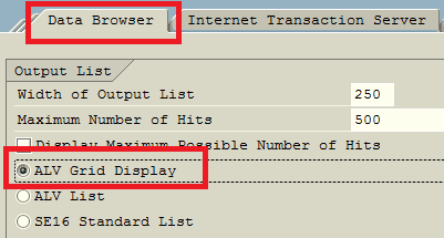 ABAP ALV Grid display mode in Data Browser settings