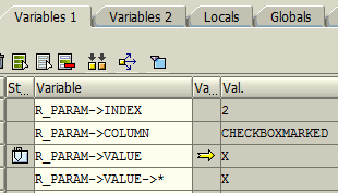 on_cell_action event parameters to get value of checkbox in ALV