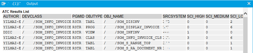 ABAP code to display ATC errors for selected programs
