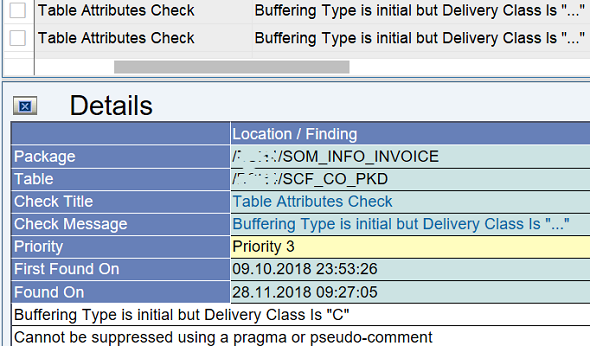 ATC Table Attributes Check Buffer Type vs Delivery Class