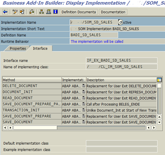 BAdI implementation details and ABAP class methods