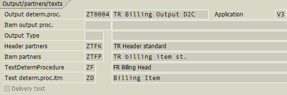 Output Determination Procedure for a Billing Document