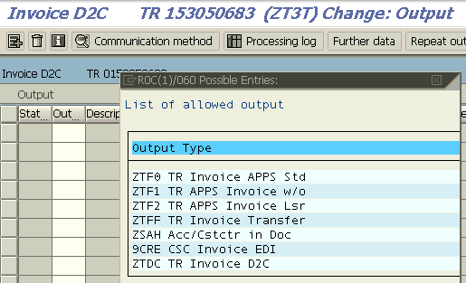 new output type is now defined successfuly for billing document