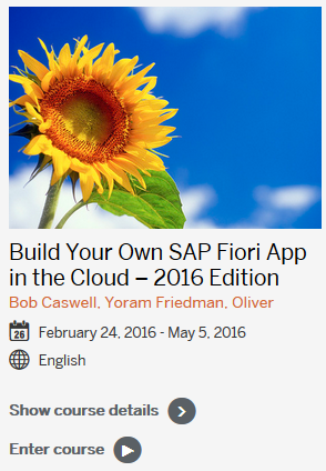 Build Your Own SAP Fiori App in the Cloud OpenSAP course