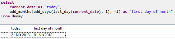 calculate first day of month in SQLScript on SAP HANA database