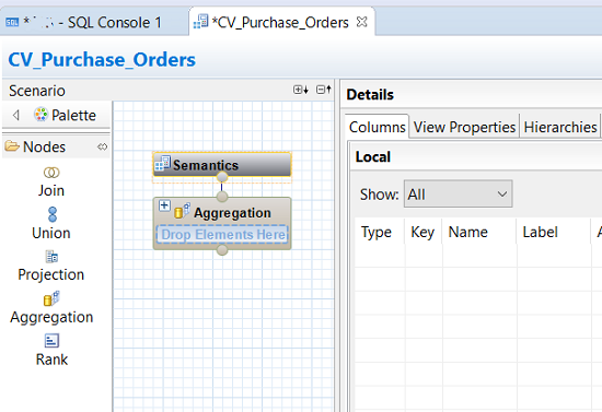 calculation view on SAP HANA View Editor