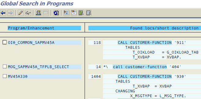 Customer Function calls in VA02 ABAP program