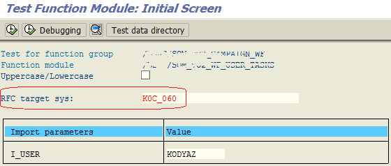 test ABAP function module call using RFC destination on SE37 transaction