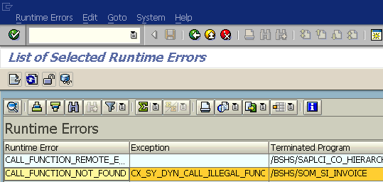 CALL_FUNCTION_NOT_FOUND ABAP Run Time Error