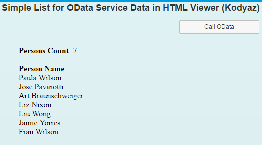 call Odata service from SAP Screen Personas