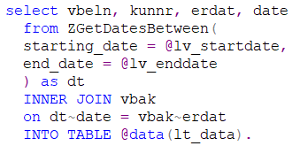 CDS dates table function ABAP code sample