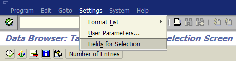 fields for selection on table data display criteria