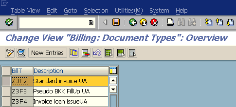 change Billing Document Types using SAP Customization screen