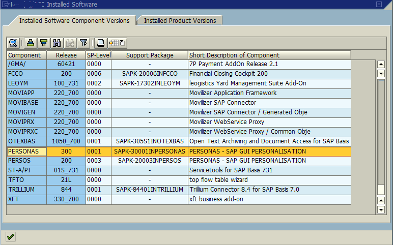 SAP installed software component versions for SAP Screen Personas