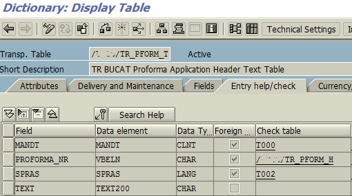check table in ABAP transparent table