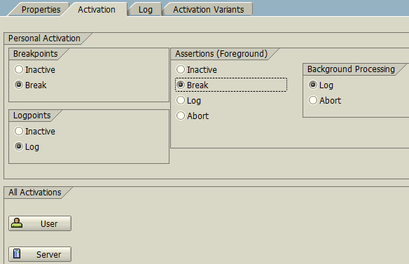 Checkpoint Group activation for debugging or log options in ABAP