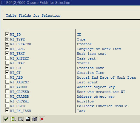 choose fields for selection from database table using SE11 tcode