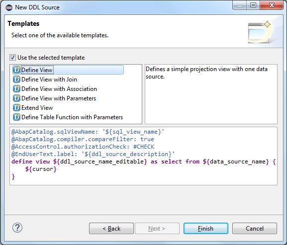 create CDS View using SQL DDL source template in SAP HANA Studio