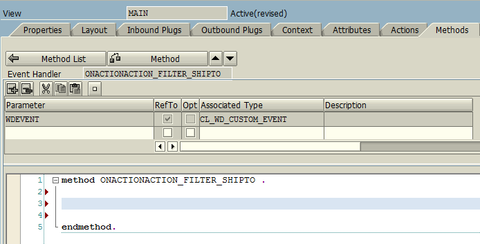 ABAP code editor for Web Dynpro Main view event, methods and actions