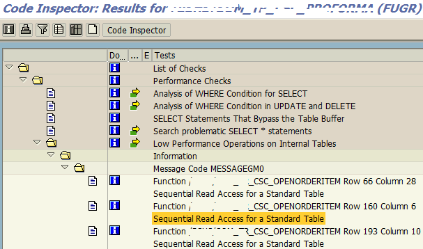 ABAP Code Inspector results for low performance internal table operations