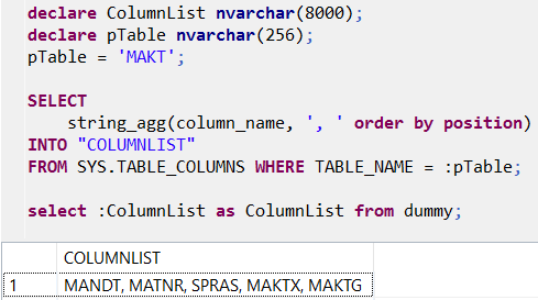 HANA database table column names listed as comma seperated with SQLScript