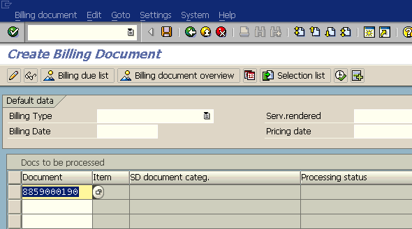 Create Sales Order, Delivery and Billing Document in SAP