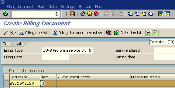 create billing document from SAP delivery document