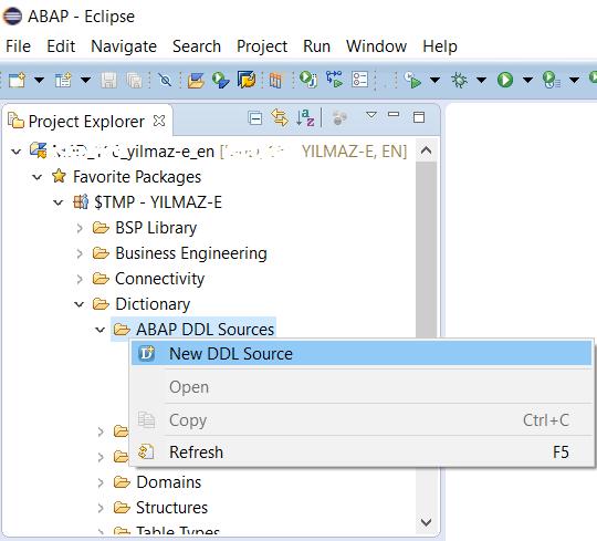 SAP HANA Studio Project Explorer for ABAP DDL Sources
