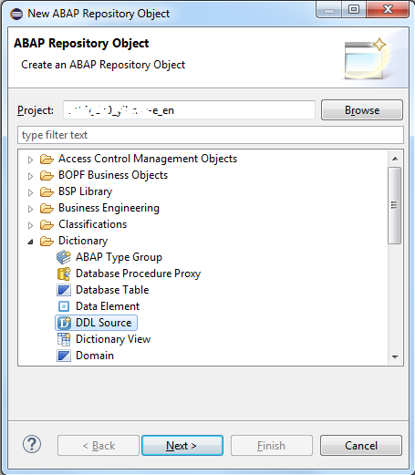 create ABAP repository object using SQL DDL source