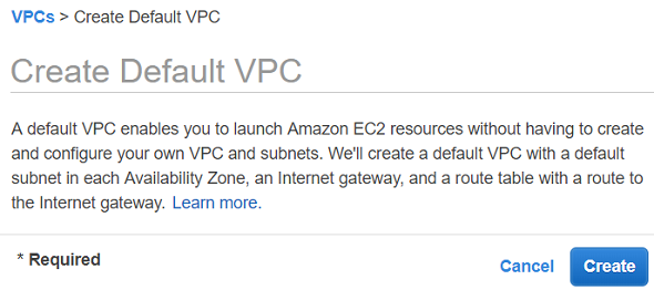 default VPC in AWS region