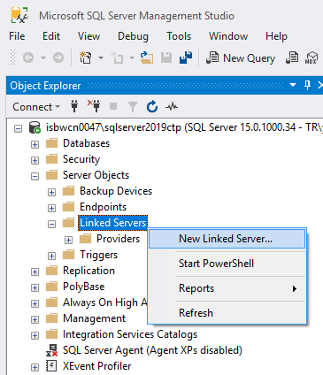create new linked server on SQL Server using SSMS