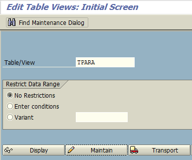create new parameter id on TPARA SAP table