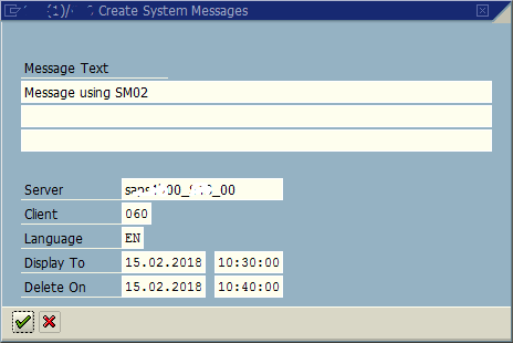 create System Message to display at SAP logon
