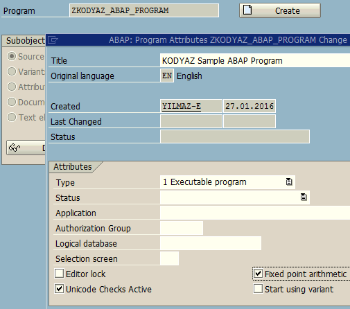create new ABAP program with Fixed Point Arithmetic attibute marked