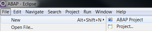 create new ABAP project in Eclipse