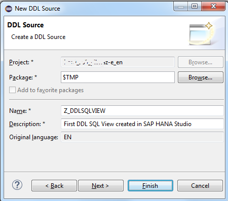 create DDL source document in SAP HANA Studio