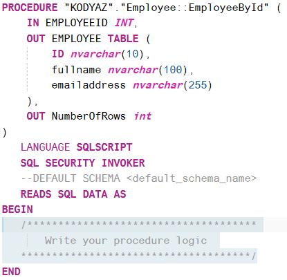create hdb procedure on SAP HANA database