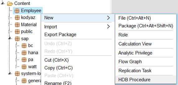 create new HANA database procedure